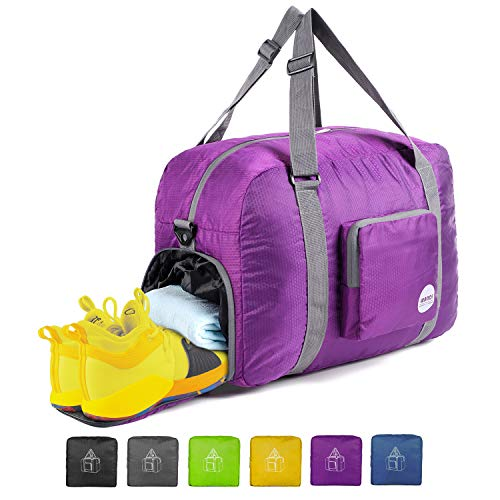 20″ Foldable Duffle Bag 40L for Travel Gym Sports Lightweight Luggage Duffel By WANDF, Purple