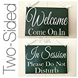 8x6 in Session Please Do Not Disturb Welcome Come on in Custom Wood Sign Spa Salon Two Sided Office Door Hanger