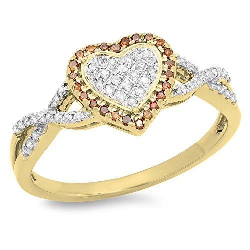 - 0.25 Carat (ctw) 10K Yellow Gold Round Red & White Diamond Swirl Promise Heart Ring 1/4 CT