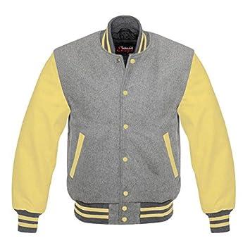 Amazon.com: Fashion Club MENS VARSITY REAL LEATHER/WOOL ...