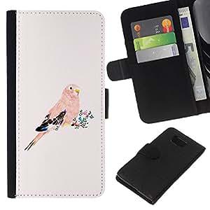 Planetar® Modelo colorido cuero carpeta tirón caso cubierta piel Holster Funda protección Para Samsung ALPHA / SM-G850 / S801 ( Parrot Pink Peach Bird Floral Feathers )