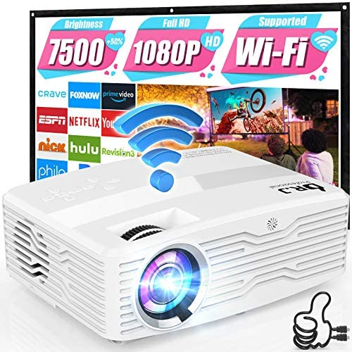 "5G WiFi Projector, Full HD Native 1080P 4K Projector 7500Lumens LCD Projector for Outdoor Movies, Wireless Mirroring/4K/Smartphone/TV Stick/HDMI/USB Supported [120"" Projector Screen Included]"