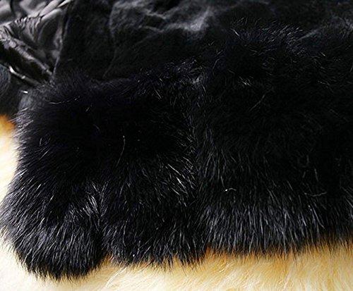 Mode Fourrure Parka D'hiver En Manteau Cravog Chaud Outwear Veste Pardessus Fausse Noir Femme Jacket BSI6qAxPw5