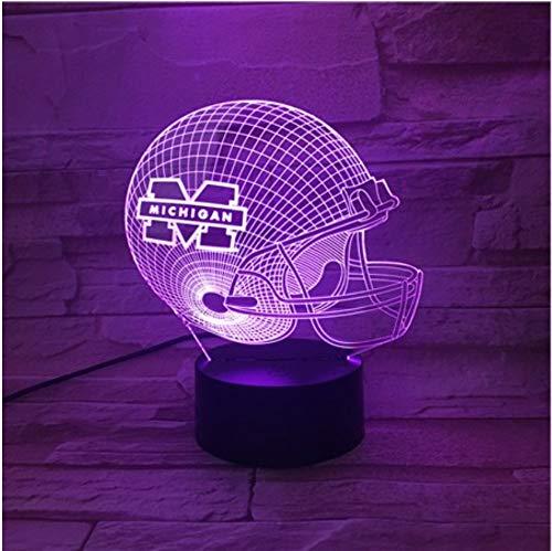 KLSOO 3D Led Night Light USB Michigan Wolverines Football Helmet Children Kids Gift Color Changing Table Lamp Bedroom Decor ()