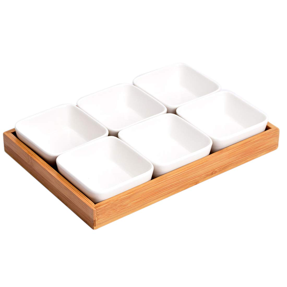 HMANE Ceramic Sauce Dish Divided Dipping Bowl Tray Condiment Dish Storage Tray for Kitchen Spices Vinegar Nuts Sushi Vinegar - (Six Compartments)
