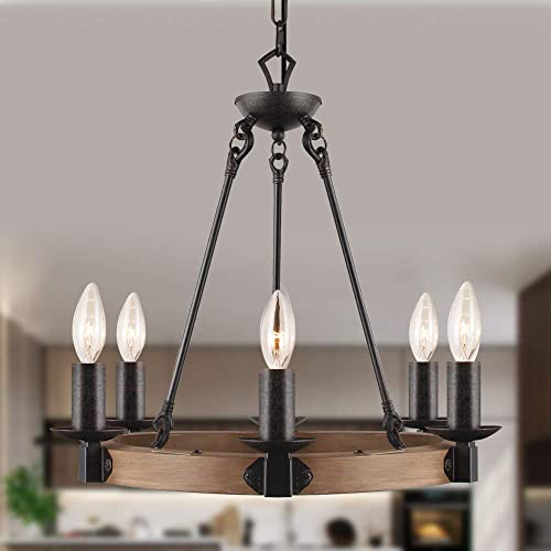T A 6 Light Farmhouse Chandelier,Imitation Wood Finish Wagon Wheel Chandelier,Rustic Style Candle Chandelier for Dining Room Kitchen Living Room