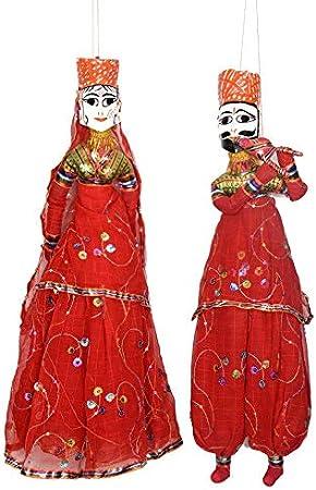 KKSM Handcrafted Rajasthani Wood Folk Puppets aka Kathputli aka Rajasthani Dolls