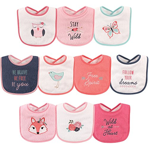 Holiday Baby Bib - Hudson Baby Baby Drooler Bib, 10 Pack, Girl Fox, One Size