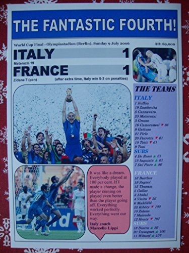 Sports Prints UK Italy 1 France 1-2006 World Cup Final - souvenir print 2006 Italy World Cup