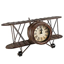 Creative Home 40020 Distressed Metal Desk Clock Propeller Airplane Shape, Rusty Finish