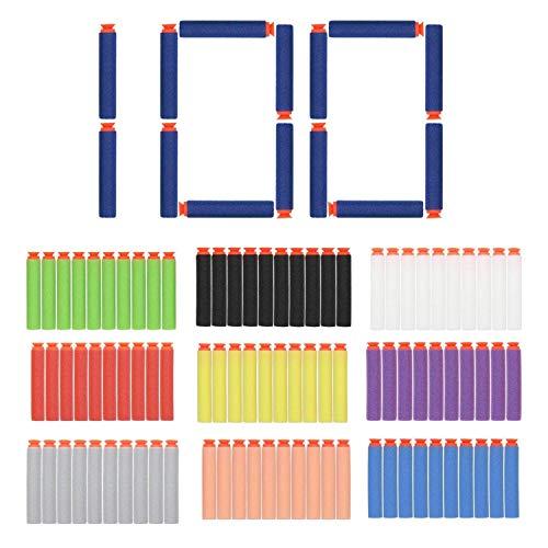 (EC2BUY 100pcs 7.2cm Refill Bullet Darts for Nerf N-strike Elite Series Blasters Kid Toy Gun - 10 Different Color(Suction head))