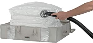 """Compactor Space Saver Vacuum Storage Solution Vacuum Bag to Protect Clothes, Pillows, Duvets, Comforters, Blankets (L (26""""x20""""x6""""), Life 2.0)"""