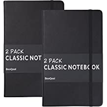 2 Pack Classic Ruled Notebooks/Journals – Premium Thick Paper Faux Leather Writing Notebook, Black, Hard Cover, Large, Lined (5 x 8.25)