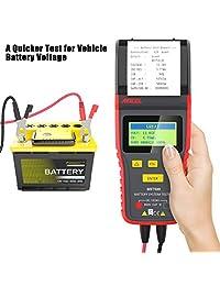 ANCEL BST500 12 V 24 V 100   2000 CCA Comprobador de carga de batería, sistema de carga y arranque de coche, herramienta de análisis con impresora para camiones pesados, coches, motocicletas y más, Negro y rojo
