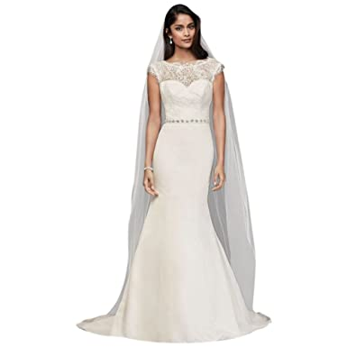 David\'s Bridal Illusion Lace and Satin Mermaid Wedding Dress Style ...
