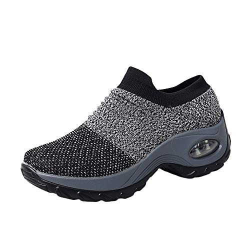 HAALIFE◕‿Women's Slip-On Mesh Walking Shoes Nurse Shoes Casual Moccasin Loafers Driving Shoes Plus Size Gray ()