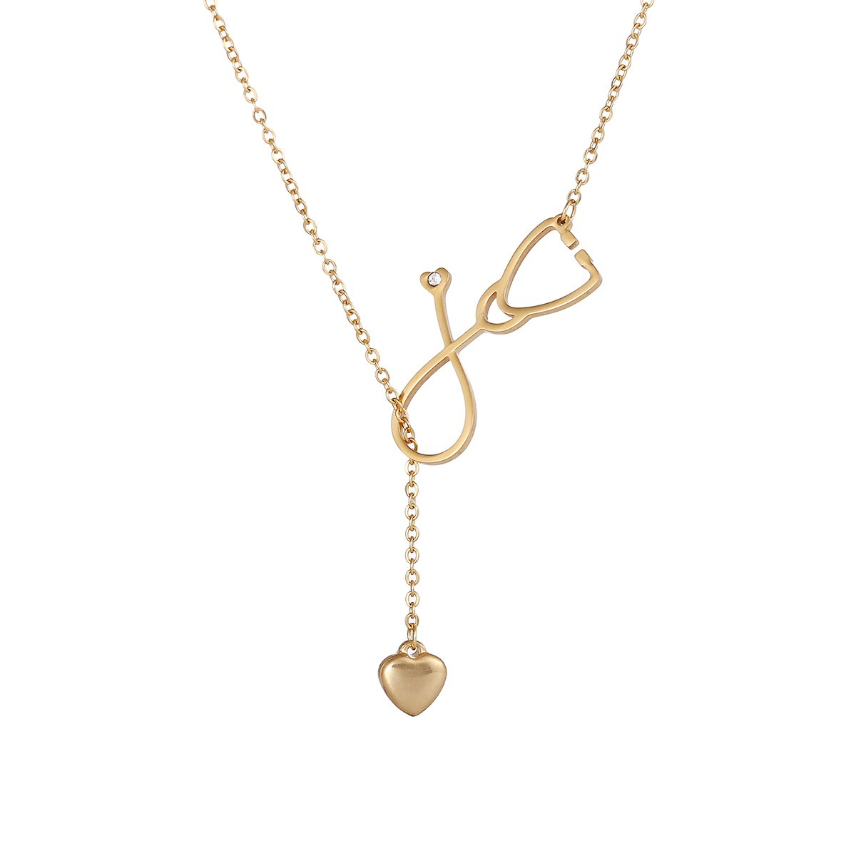 FOXJWEL Stainless Steel Stethoscope EKG Heartbeat Lariat Necklace for Doctor Nurse Medical Student Graduation Gift (Stethoscope Gold)