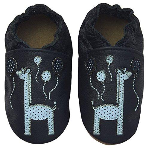 Rose & ChocolatRCC Happy Giraffe - pantuflas de aprendizaje Bebé-Niñas Azul (blue)