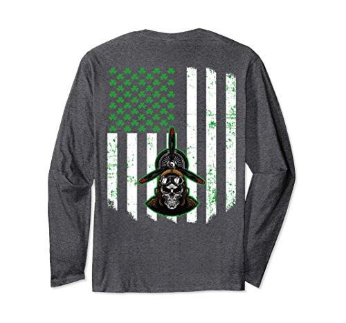Unisex Patrick Day USA Flag Irish Skull Shamrock Pilot Long Sleeve 2XL Dark - Store Usa Pilot
