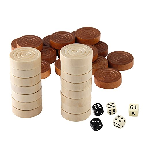 Amerous Thread Wooden Checkers Pieces Nature Wood Backgammon Pieces with Drawstring Bag, 5 Dices Included ()