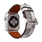 NewSilkRoad 38mm Classic Plaid Pattern Leather Replacement Watch Band Strap with Stainless Metal Buckle Compatible for Apple Watch Series 3, Series 2, Series 1, Sport & Edition (B)