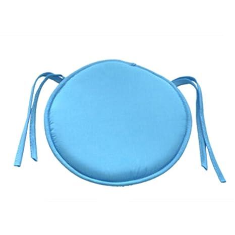 Cojín redondo acolchado para silla, de EMVANV, para uso exterior e interior, para la casa o la oficina, azul celeste, Tamaño libre