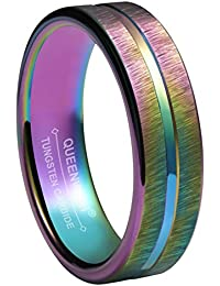 4mm Rainbow Wedding Bands Rings Tungsten Purple Brushed Comfort Fit Engagement Rings