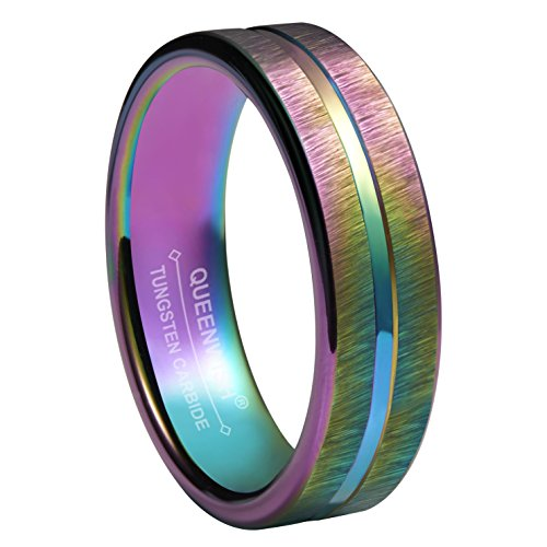 Queenwish 4mm Rainbow Wedding Bands Rings Tungsten Purple Brushed Comfort Fit Engagement Rings (10) (Tension Fit Band Comfort Wedding)