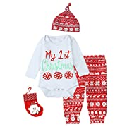 Paddy Field Baby Girls Boys My 1st Christmas 4PCS Outfit Set Snowflake Reindeer Bodysuit (0-3 Months)