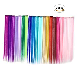 VANVENE Bundle 24 Pieces of 20 Inches Multi-Colors Party Highlights Colorful Clip in Synthetic Hair Extensions,Straight Long Hairpiece