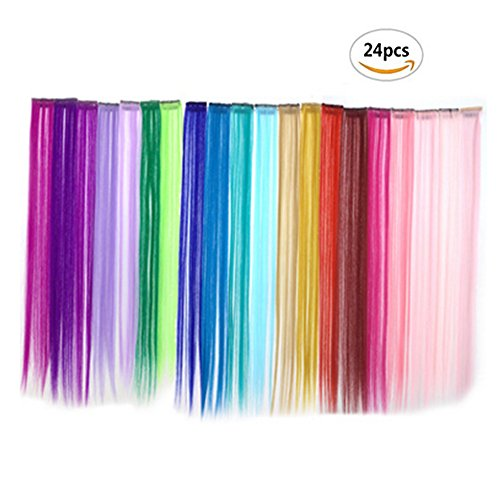 Bundle 24 Pieces of 20 Inches Multi-colors Party Highlights Colorful Clip in Synthetic Hair Extensions,straight long (Hair Color Match)
