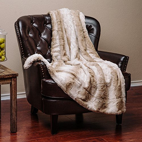 Elegant Leaf (Chanasya Super Soft Fuzzy Fur Elegant Faux Fur Falling Leaf Pattern With Fluffy Plush Sherpa Cozy Warm Brown Microfiber Throw Blanket (50