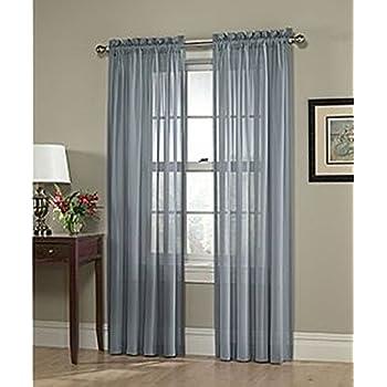 LuxuryDiscounts 2 Piece Solid Slate Blue Elegant Sheer Curtains Fully  Stitched Panels Window Treatment Drape 54