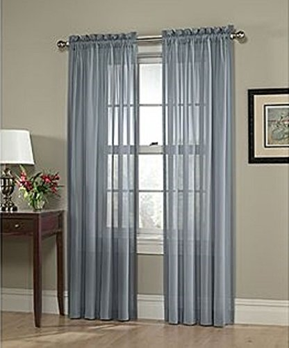 LuxuryDiscounts 2 Piece Solid Slate Blue Elegant Sheer - Blue Sheer Curtain Panels