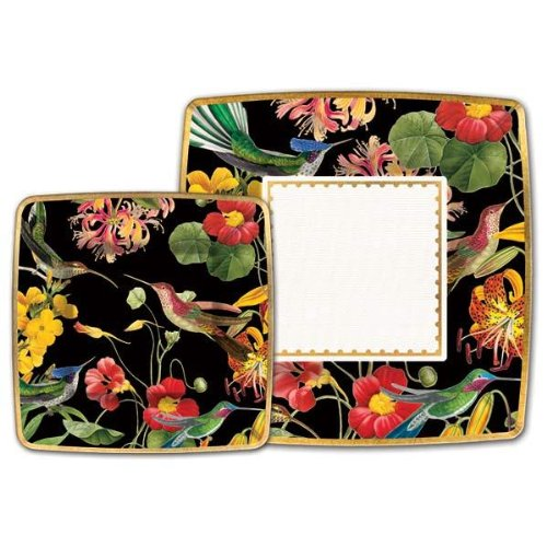 Flora Exotica Dinner Square Paper Plates, 8 Count ()