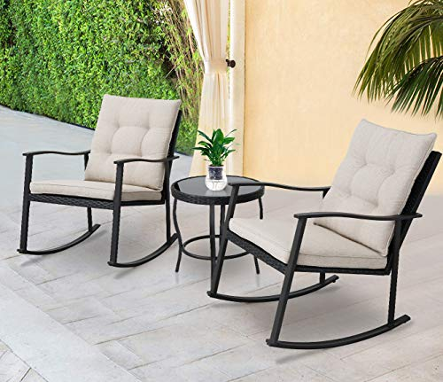 (Solaura Outdoor Furniture 3-Piece Rocking Wicker Patio Bistro Set Black Wicker with Beige Cushions - Two Chairs with Glass Coffee Table)