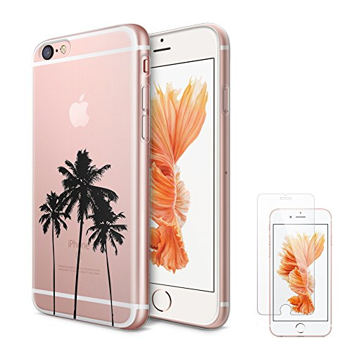 iPhone 6s Plus Case,iPhone 6 Plus Clear Case uCOLOR California Palm Tree Transparent Protective Soft TPU Bumper+Hard PC Back Cover for iPhone 6/6s Plus (5.5