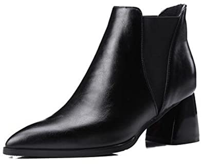 Women's Sexy Pointed Toe Elastic Club Chelsea Booties Block Mid Heel Biker Ankle Boots