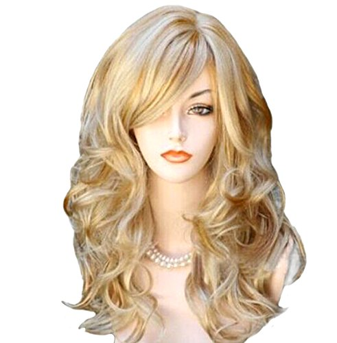 [Long Blonde Wig,Acecharming Women's Sexy Harajuku Style Mixed Blonde Curly Synthetic Wig for Fancy Party wig] (Long Sexy Wigs)