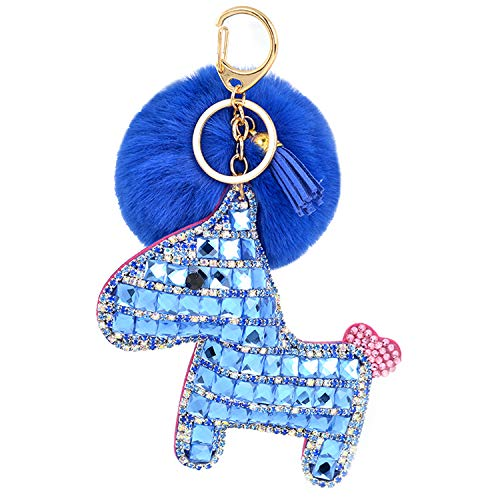 JOUDOO Rhinestone Pony Keychain with Pom Pom Fur Ball and Tassels Keyring for Bags Purses Keys GJ018