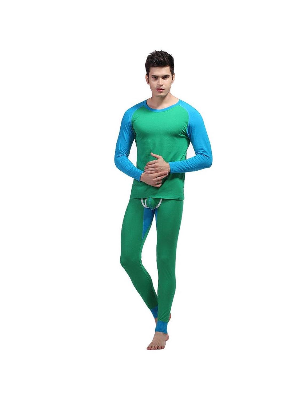 Zacoo Herren Thermowäsche Set(Hemd + Hose) Kontrast Farbe Unterwäsche