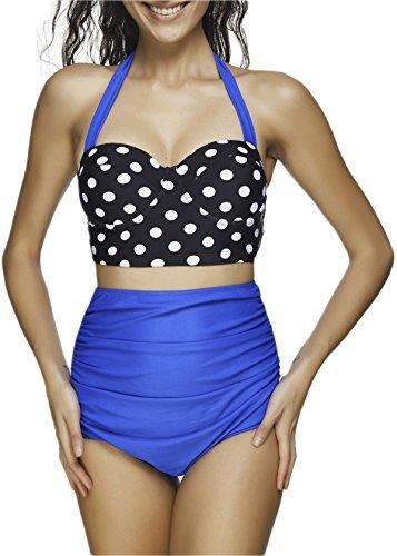 Passionate Adventure 2pcs Retro Pinup High Waisted Girl Push Up Beachwear Swimsuit Bikini Sets Blue Dot M (US Size 4-6)