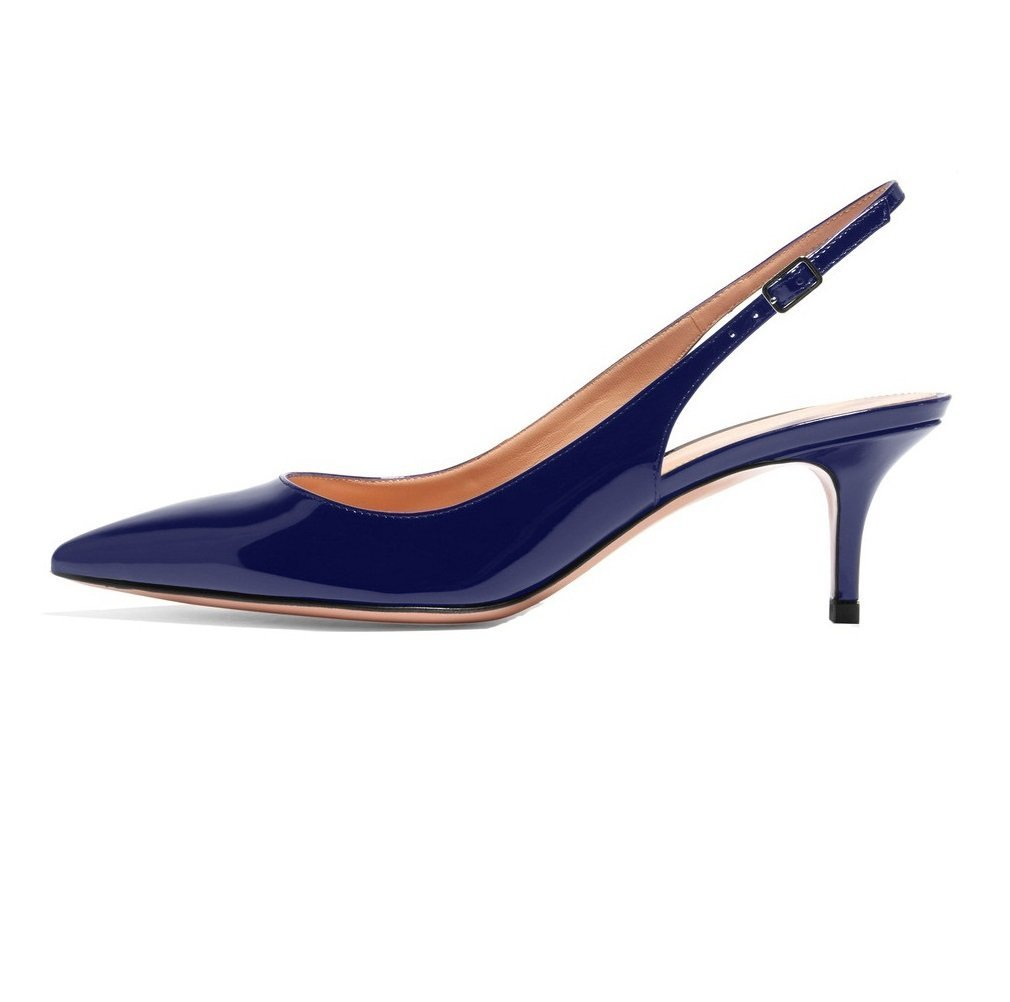 Sammitop Women's Pointed Toe Slingback Shoes Kitten Heel Pumps Comfortable Dress Shoes B077RVKS5R 11 B(M) US|Darkblue