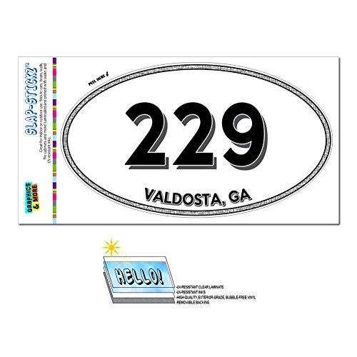 Graphics and More Area Code Euro Oval Window Laminated Sticker 229 Georgia GA Leesburg - Wray - - Leesburg Premium