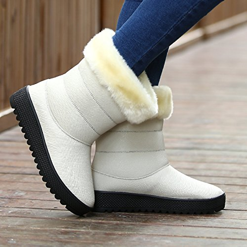 Abby 15013 Donna New Fashion Winter Leisure Sweet Sweet Flat Plus Warm Lana Antiscivolo Slip On Snow Boots Bianco