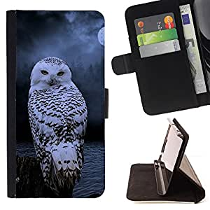 - Queen Pattern FOR Samsung Galaxy S6 /La identificaci????n del cr????dito ranuras para tarjetas tir????n de la caja Cartera de cuero cubie - owl snow winter night mysterious moon