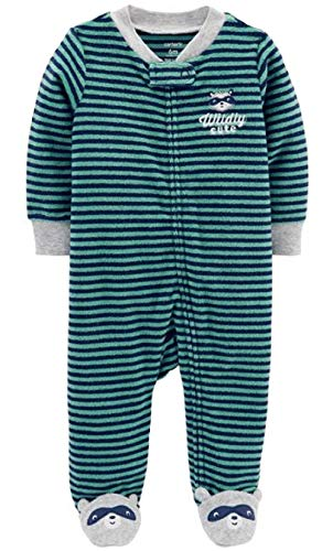 Carter's Baby Boys' Terry Zip-Up Sleep & Play (3 Months, Blue/Grey)