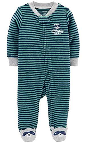 Carter's Baby Boys' Terry Zip-Up Sleep & Play (3 Months, Blue/Grey)