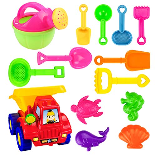 gofh Super Value: 14PCS Kids Beach Toys Set Molds Tools Sandbox Toys On Summer Beach Holiday/ Kettle/ Truck/ Pull The Rope/ Rake/ Beach Mould/ Shovel/ Bright Colours