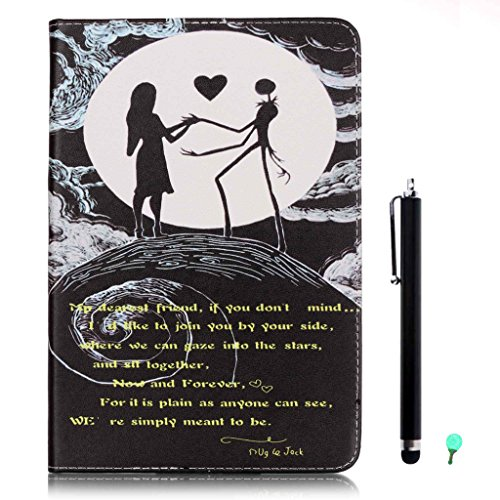 iPad Air/Air2 Case, iPad 5/6 Case, fengus Ultra Slim PU Leather Cover Stand Flip Case Cover with Cute Pattern Design Back Shell for Apple iPad Air/iPad Air 2 +Stylus+Dust plug-Moon Couple